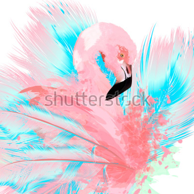 Vinilo Beautiful vector illustration with drawn pink flamingo and blue feathers