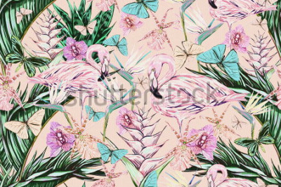 Vinilo  Beautiful vintage seamless floral jungle pattern background. Colorful watercolor tropical flowers, palm leaves and plants, butterflies, bird of paradise flower with pink flamingos, exotic print