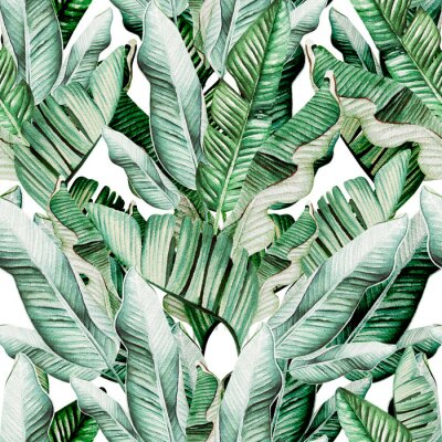 Vinilo Beautiful watercolor seamless pattern with tropical leaves and banana leaves.