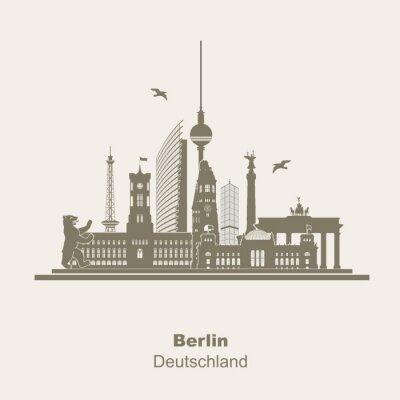 Vinilo Berlín Logo de la silueta Umriss Schattenriss Fernseturm Funkturm Berliner Bär, visita turística, Brandenburger Tor Rotes Rathaus Potzdamer Platz Siegessäule Gedächtniskirche Reichstag