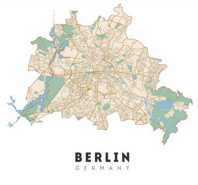 Vinilo Berlin map. Detailed poster city map Berlin. Germany