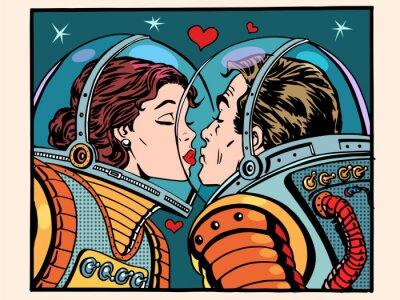 Vinilo Beso espacio hombre y mujer astronautas