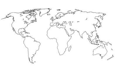 Vinilo Best doodle world map for your design. Hand drawn freehand editable sketch. Planet Earth simple graphic style. Vector line illustration, EPS 10
