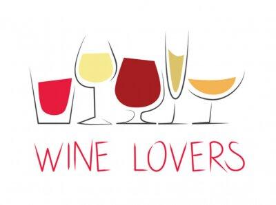 Vinilo Bicchieri di vino Differenti con dicitura