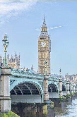 Vinilo Big Ben con el puente de Westminster y el río Támesis en Londres
