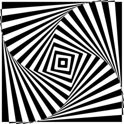 Vinilo Black and White Optical Illusion Vector Illustration.