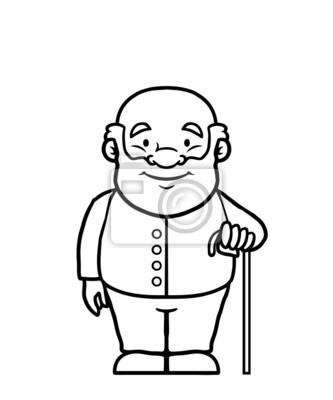 Blanco y negro anciano sosteniendo un bastón y sonriendo. vinilos ...