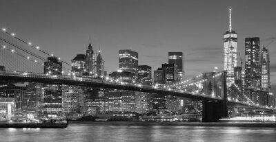 Vinilo Blanco y negro en la costa de Manhattan en la noche, Nueva York.
