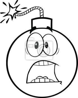 Blanco y negro miedo personaje de dibujos animados bomba vinilos ...