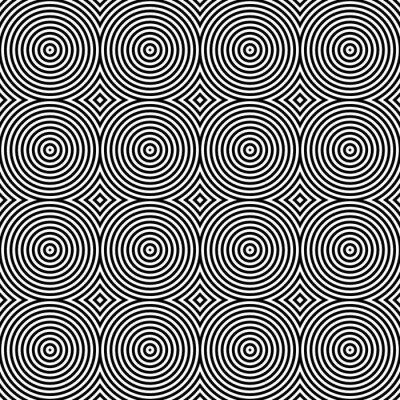 Vinilo Blanco y Negro psicodélico Circular Textil patrón.