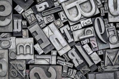 Vinilo bloques de impresión tipografía de metal de tipo antiguo