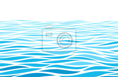 Vinilo Blue water waves perspective landscape. Vector horizontal seamless pattern