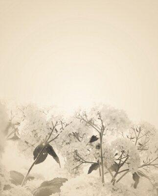 Vinilo Blurred sepia florals background.