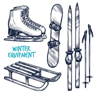 Vinilo Boceto de invierno Deportes Objetos