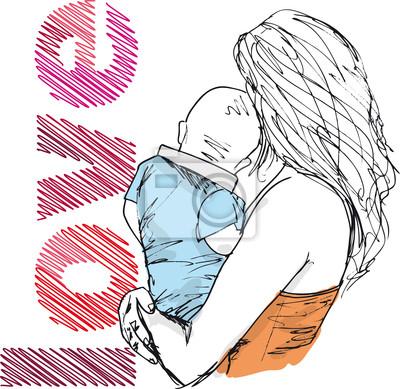 Boceto de la mamá y del bebé, ilustración vectorial vinilos para ...