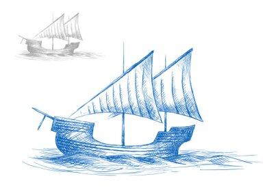 Vinilo Boceto del velero viejo medieval