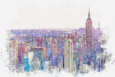 Vinilo Boceto en acuarela o ilustración de una hermosa vista de la ciudad de Nueva York con rascacielos urbanos. Paisaje urbano o horizonte urbano.