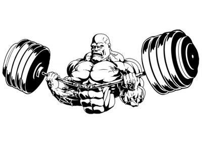 Vinilo Bodybuilder flex heavy barbell, ilustración, logotipo, tinta, blanco y negro, contorno, aislado en un blanco