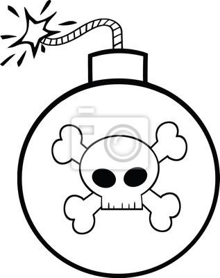 Bomba de dibujos animados en blanco y negro con el cráneo y ...
