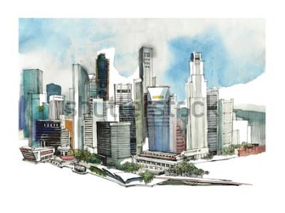 Vinilo Bosquejo de acuarela de la ciudad de Singapur panorámica. Silueta del horizonte de la ciudad. Dibujar a mano con la arquitectura. Colorida ilustración de la ciudad de negocios para postales, camisetas