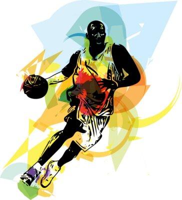 Vinilo Bosquejo de jugador de baloncesto