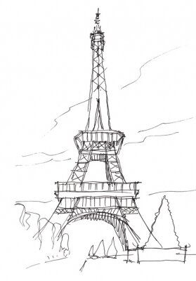 Vinilo bosquejo de la pluma del doodle de la torre Eiffel mano