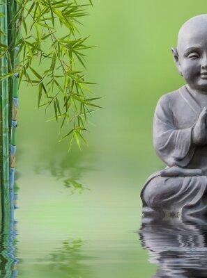 Vinilo Bouddha enfant et bambou aquatique, composición zen