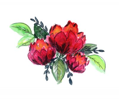 Vinilo Bright watercolor red and green floral bouquet. Color painting composition with ink pen outline pink roses or peonies flowers and fresh leaves for invitation, wedding, greeting cards design, sticker
