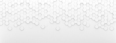 Vinilo Bright white abstract hexagon wallpaper or background - 3d render
