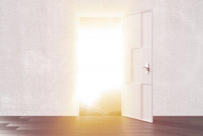 Vinilo Brillante luz de la puerta abierta de la habitación vacía
