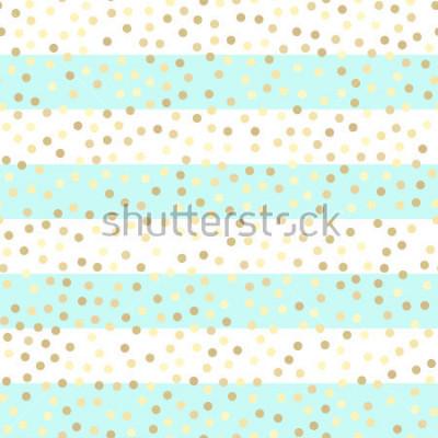 Vinilo Brillantes gotas de oro sobre turquesa y rayas blancas. Modelo inconsútil del vector en fondo rayado de la menta y del oro. Fondo de vacaciones brillante. Patrón dorado brillante. Fondo de lámina de m