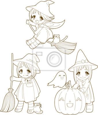 Brujas de halloween del kawaii lindo para colorear libro vinilos ...