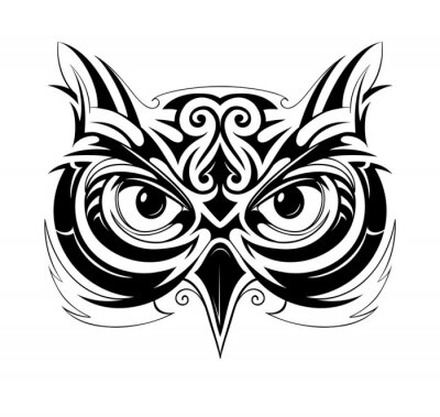 Vinilo Búho cabeza tatuaje