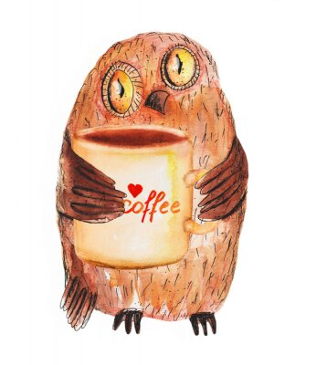 Vinilo Búho con la taza de café. Dibujo Acuarela Mano