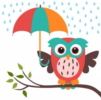 Vinilo búho y paraguas de la lluvia