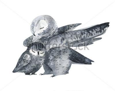 Vinilo Búho y una técnica de acuarela de bebés. Animales del bosque. Ejemplo realista pintado a mano aislado en el fondo blanco. Tarjeta del día de la madre hecha a mano.