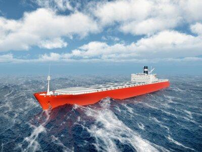 Vinilo Buque de carga en el océano tormentoso