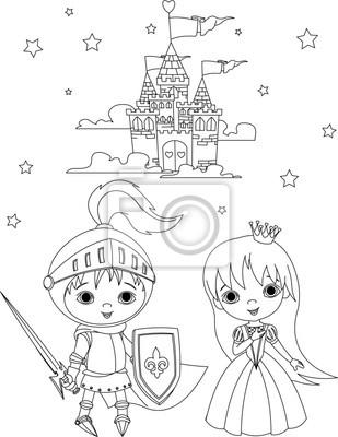 Caballero medieval y página para colorear princesa vinilos para ...