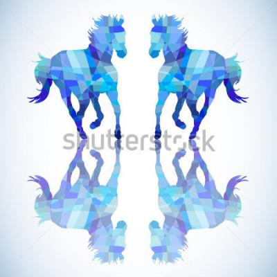 Vinilo Caballo abstracto azul de formas geométricas