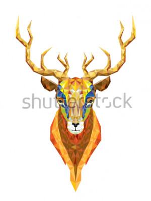 Vinilo Cabeza de ciervo bajo polígono patrón geométrico vector eps10
