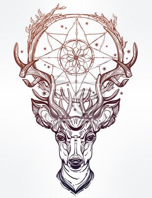 Vinilo Cabeza de ciervo y receptor de sueños.