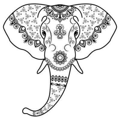 Vinilo Cabeza de elefante blanco y negro en el estilo Mehndi Indian.Vector ilustración aislada sobre fondo blanco