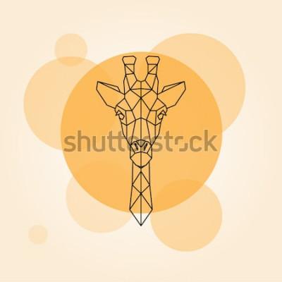 Vinilo Cabeza de jirafa líneas geométricas silueta aislado en un círculo naranja. Ilustración vectorial