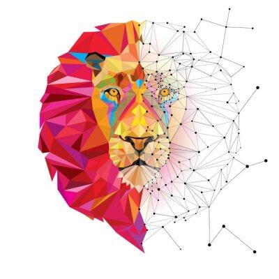 Vinilo Cabeza de león en el patrón geométrico con la línea estrella de vectores
