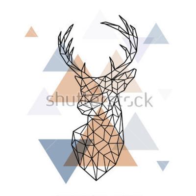 Vinilo Cabeza geométrica de los ciervos escandinavos. Estilo poligonal. Estilo escandinavo.
