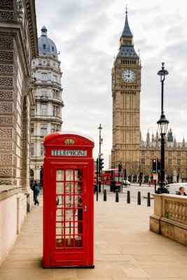 Vinilo Cabina telefónica de Londres y Big Ben