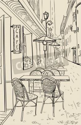 Vinilo Café de la calle en la vieja ilustración boceto ciudad.