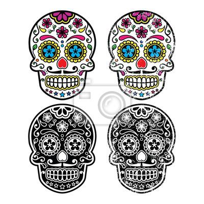 Calavera de azúcar retro mexicana, establecen dia de iconos de ...