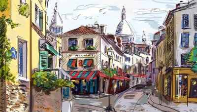 Vinilo Calle de París - ilustración
