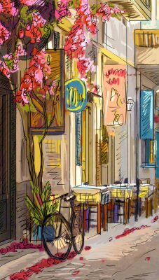 Vinilo Calle en Roma - ilustración